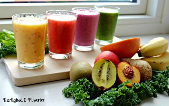 flot, farverig, juice, smoothie, sundhed