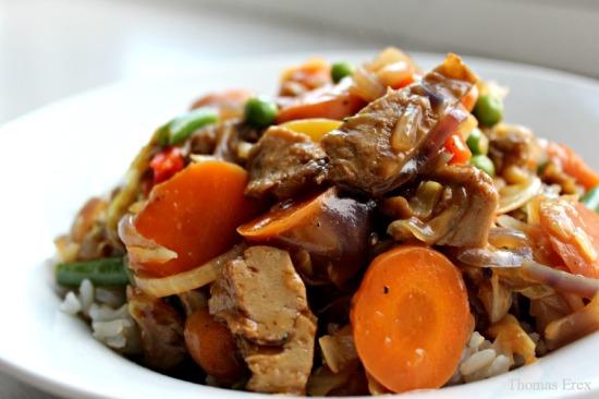 chop suey med mock duck (seitan) og spidskål
