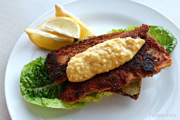 vegansk fiskefilet, persillerodsfilet, pastinak, fisk, remoulade