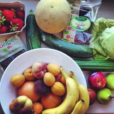 Efter min tur i København skulle der fyldes op med frisk frugt og grønt.