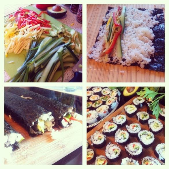 Vegansk sushi lavet med to veninder. Det er lækker sommermad, fordi det ikke er varmt, og så tager det ikke specielt lang tid at lave.