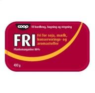 FRI er en populær vegansk plantesmør. FRI kan findes i COOP-butikker som Kvickly og SuperBrugsen.