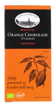 Denne chokolade med orange er fra Netto. Der er en lignende variant i Rema 1000, som også er øko/fairtrade.