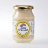 Römers ægfri mayo er vegansk og kan købes i helsekostbutikker. En del SuperBrugsen-butikker har også vegansk mayo.
