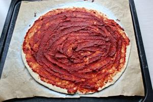 tomatpuré, sauce, pizza, vegansk