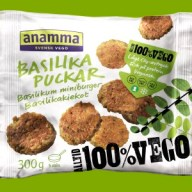 Små basilikum-frikadeller fra Anamma. De kan købes i nogle SuperBrugsen- og Kvickly-butikker.