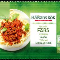 """Hakket kød. Halsans Køk-produkterne kan tit findes på tilbud i Rema 1000, men de forhandles også i Irma, Kvickly mm. OBS: Hold øje med """"veganer""""-mærkningen. Ikke alle produkter fra Halsans Køk er veganske."""