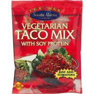 Denne taco-mix er let at finde i fx Føtex og andre større supermarkeder. Den indeholder sojakød, så den bare skal blandes med flåede tomater og vand, så er der kødsovs til pasta, tacos eller andet.