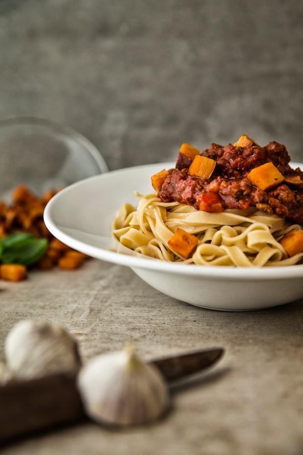 vegansk, kødsauce, pasta, bolognese